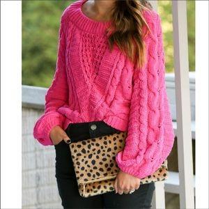 Express pink chunky knit sweater